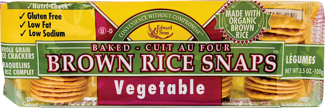 Vegetable Brown Rice Snaps product image.