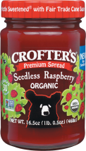 Crofter's Organic fruit spreads make snack time quick, easy and nutritious with real fruit goodness and 33% less sugar than preserves. Always certified organic, Non-GMO Project Verified and made with quality ingredients and methods that care for the planet. product image.